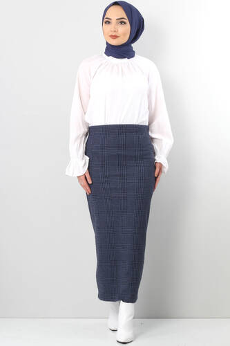 Tesettür Dünyası - Winter Plaid Pencil Skirt TSD0412 BLUE