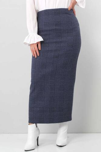 Tesettür Dünyası - Winter Plaid Pencil Skirt TSD0412 BLUE (1)