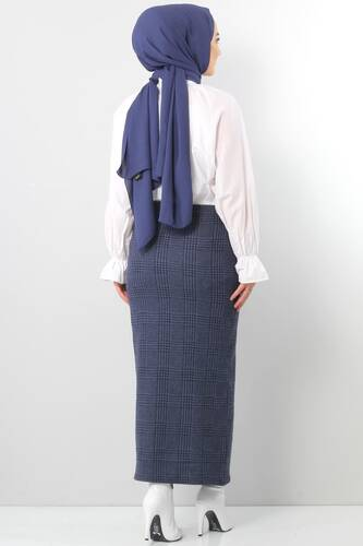 Winter Plaid Pencil Skirt TSD0412 BLUE - Thumbnail