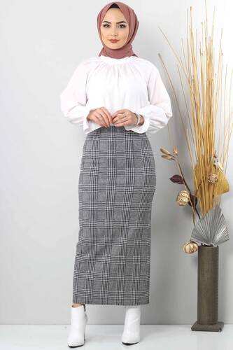 Tesettür Dünyası - Winter Plaid Pencil Skirt TSD0412 Gray