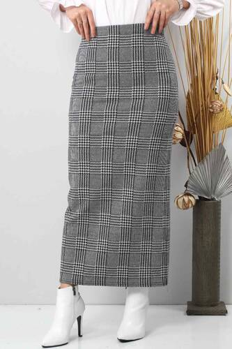Tesettür Dünyası - Winter Plaid Pencil Skirt TSD0412 Gray (1)