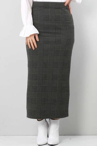 Winter Plaid Pencil Skirt TSD0412 KHAKI - Thumbnail