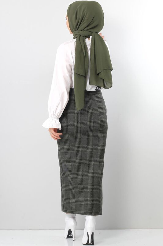 Winter Plaid Pencil Skirt TSD0412 KHAKI