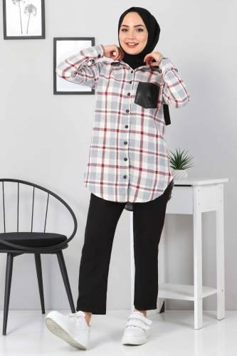 Tesettür Dünyası - Collar Pocket Leather Detailed Shirt TSD3322 Gray