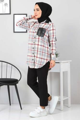 Yakası Cebi Deri Detaylı Gömlek TSD3322 Gri - Thumbnail