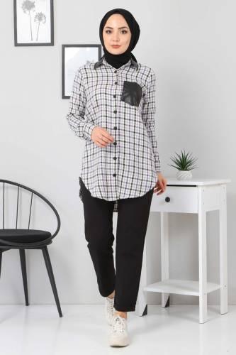 Tesettür Dünyası - Collar Pocket Leather Detailed Shirt TSD3322 Lilac