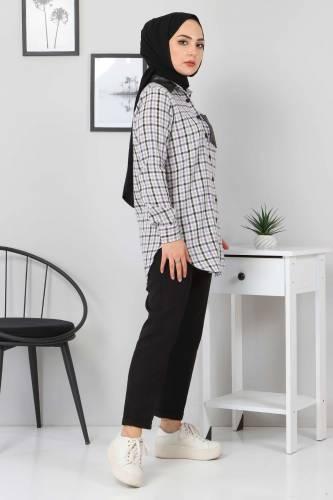 Yakası Cebi Deri Detaylı Gömlek TSD3322 Lila - Thumbnail