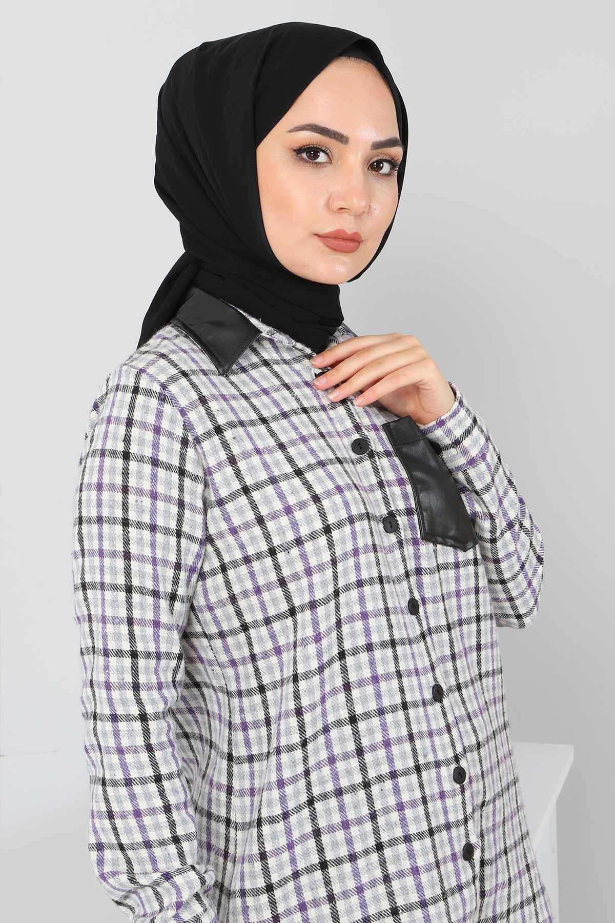 Yakası Cebi Deri Detaylı Gömlek TSD3322 Lila