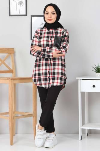 Tesettür Dünyası - Pocket Leather Detailed Shirt TSD3322 Black (1)