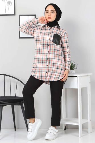 Tesettür Dünyası - Collar Pocket Leather Detailed Shirt TSD3322 Orange