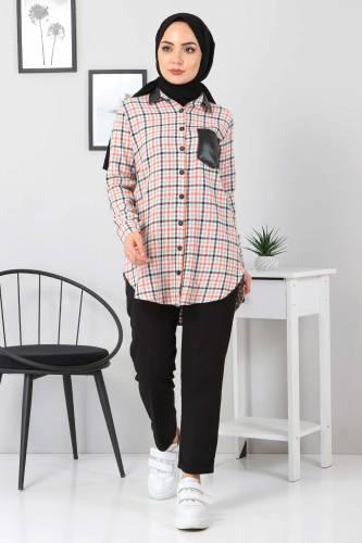Tesettür Dünyası - Collar Pocket Leather Detailed Shirt TSD3322 Orange (1)