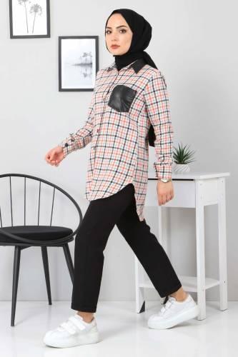 Yakası Cebi Deri Detaylı Gömlek TSD3322 Turuncu - Thumbnail