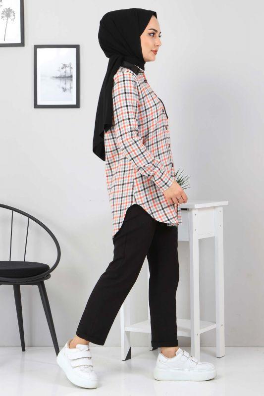 Yakası Cebi Deri Detaylı Gömlek TSD3322 Turuncu