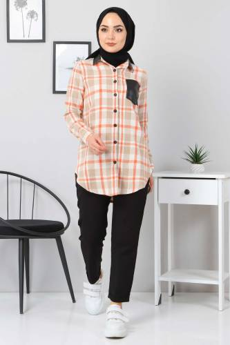 Tesettür Dünyası - Collar Pocket Leather Detailed Shirt TSD3322 Dark Beige