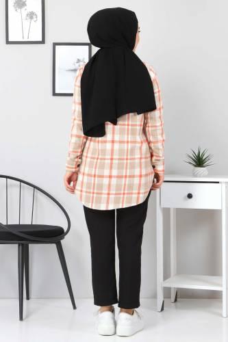 Yakası Cebi Deri Detaylı Gömlek TSD3322 Vizon - Thumbnail