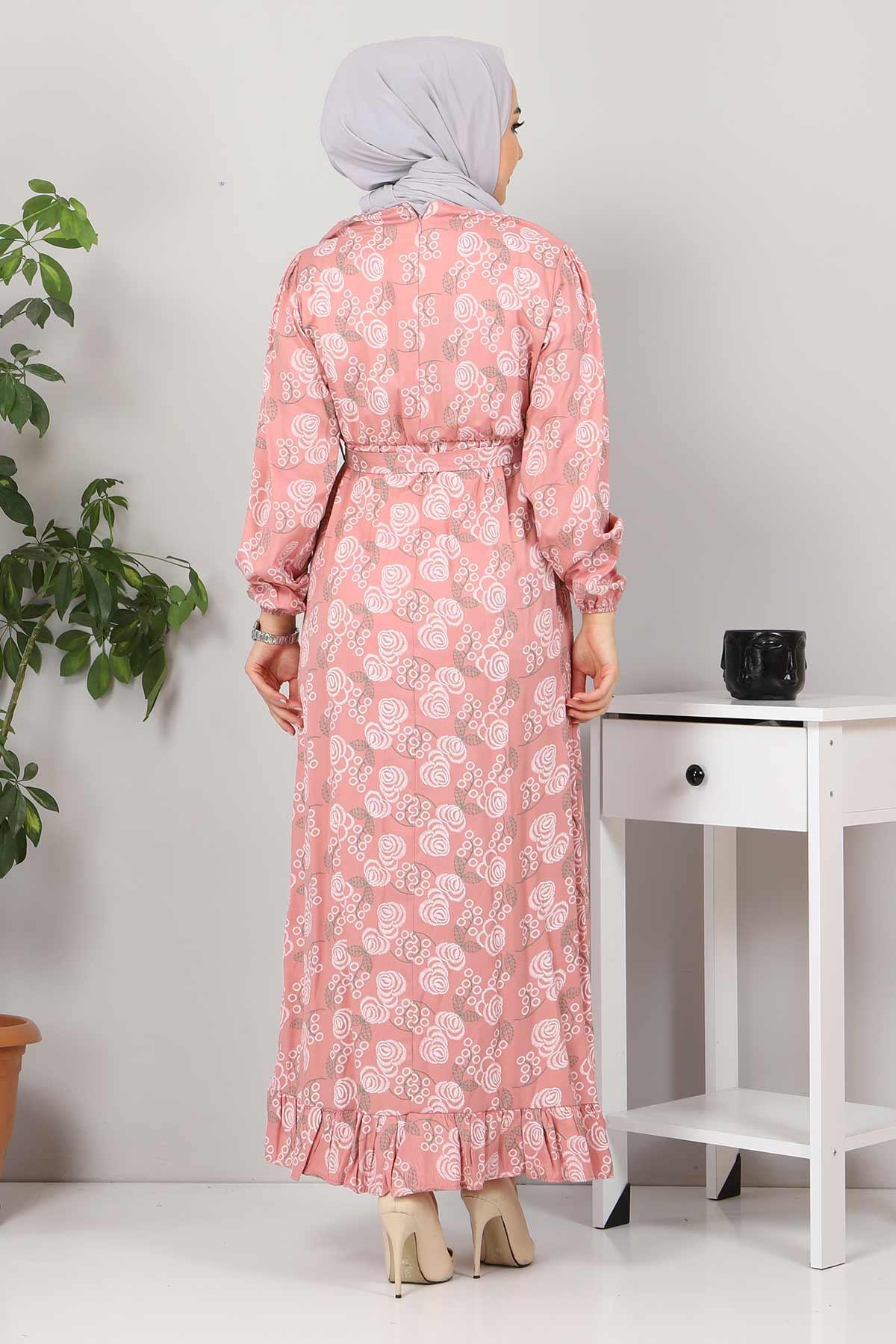 Yakası FırfırDetaylı Elbise TSD4402 Gül Kurusu