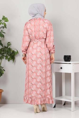 Yakası FırfırDetaylı Elbise TSD4402 Gül Kurusu - Thumbnail