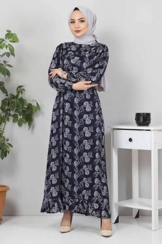 Yakası FırfırDetaylı Elbise TSD4402 Lacivert - Thumbnail