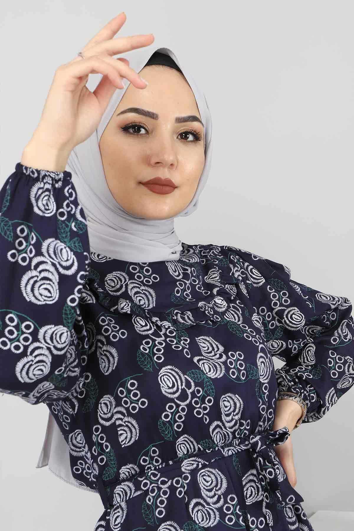 Yakası FırfırDetaylı Elbise TSD4402 Lacivert