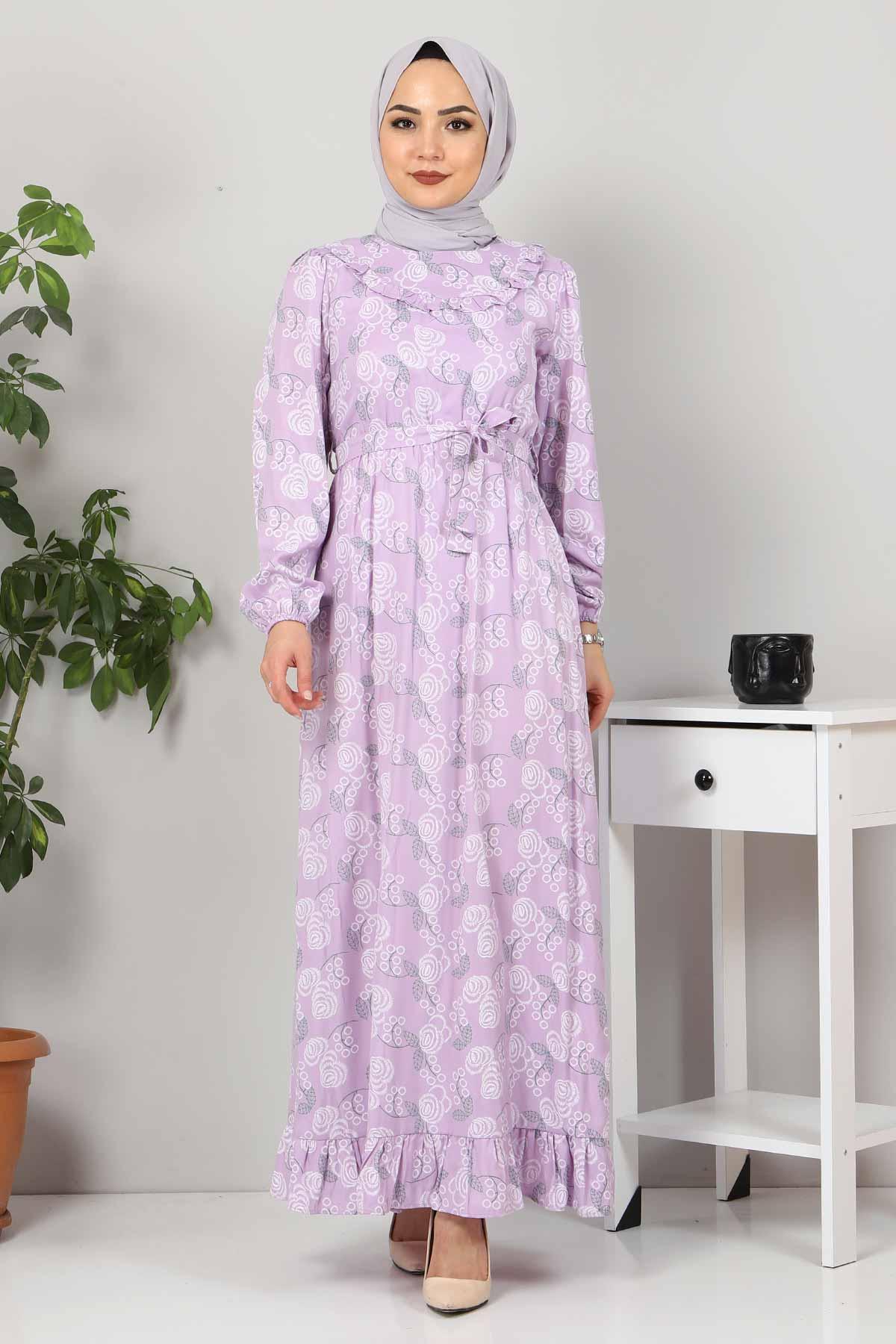 Yakası FırfırDetaylı Elbise TSD4402 Lila
