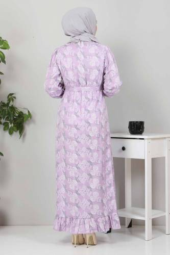 Yakası FırfırDetaylı Elbise TSD4402 Lila - Thumbnail