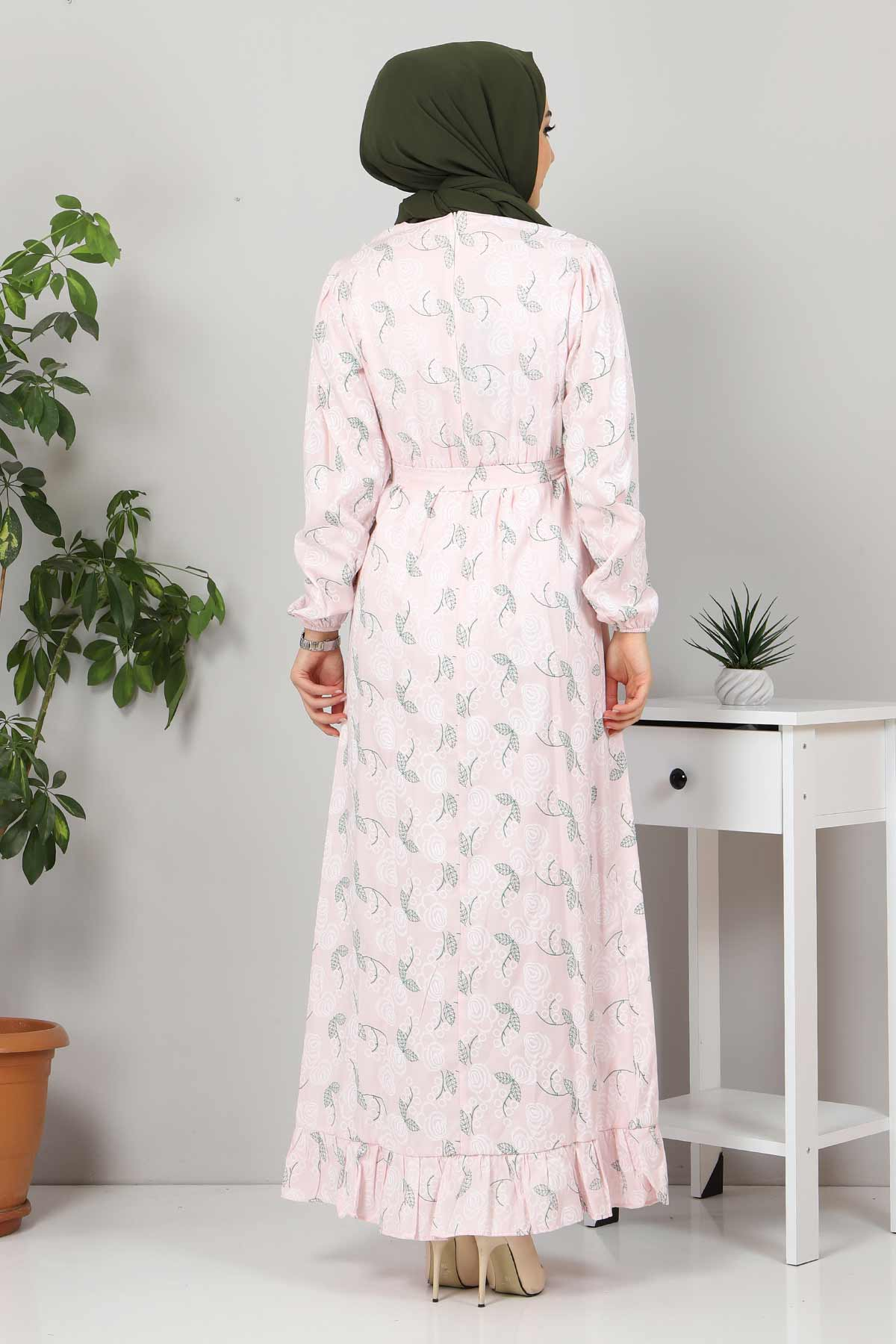 Yakası FırfırDetaylı Elbise TSD4402 Pudra