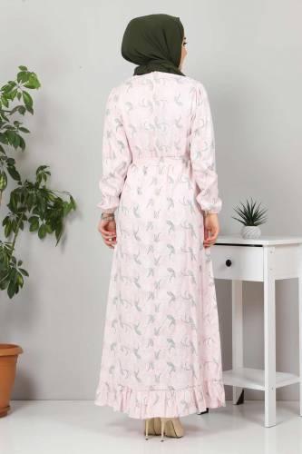 Yakası FırfırDetaylı Elbise TSD4402 Pudra - Thumbnail