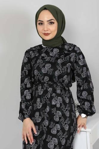 Yakası FırfırDetaylı Elbise TSD4402 Siyah - Thumbnail