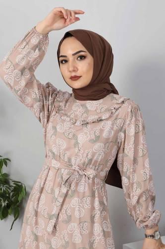 Yakası FırfırDetaylı Elbise TSD4402 Vizon - Thumbnail