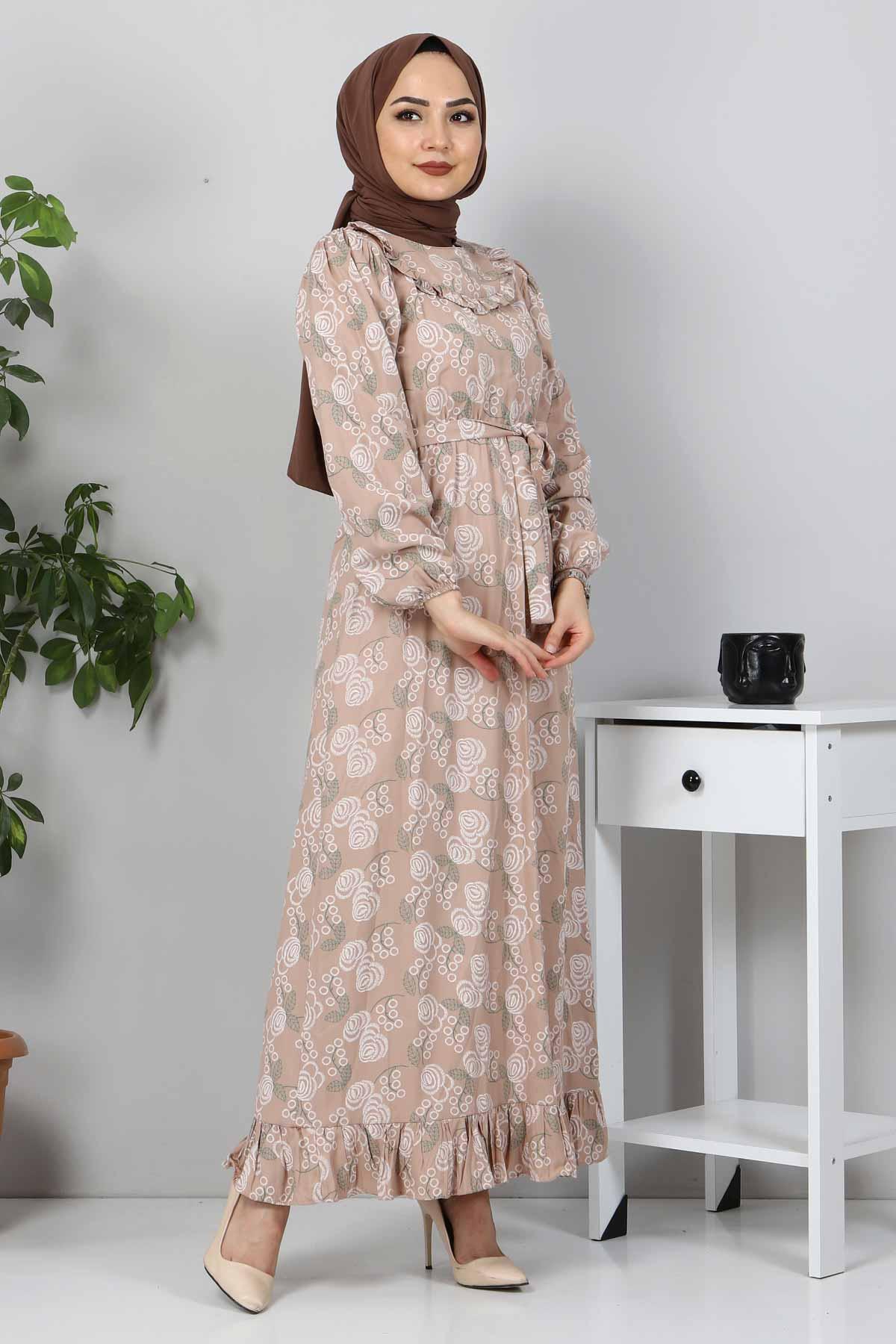 Yakası FırfırDetaylı Elbise TSD4402 Vizon