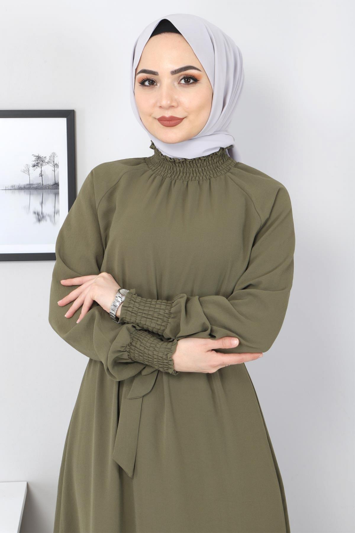 Yakası Lastikli Elbise TSD2894 Haki