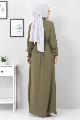 Yakası Lastikli Elbise TSD2894 Haki - Thumbnail
