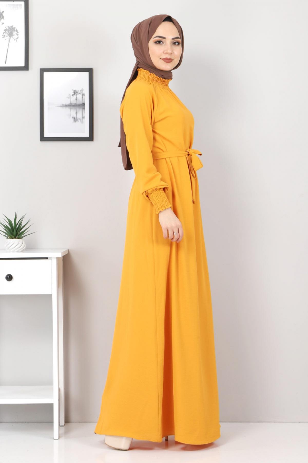 Yakası Lastikli Elbise TSD2894 Hardal