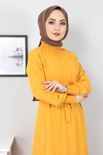 Yakası Lastikli Elbise TSD2894 Hardal - Thumbnail