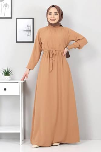 Yakası Lastikli Elbise TSD2894 Kahverengi - Thumbnail