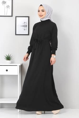 Tesettür Dünyası - Yakası Lastikli Elbise TSD2894 Siyah