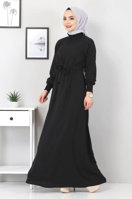 Yakası Lastikli Elbise TSD2894 Siyah