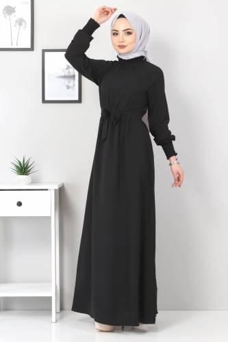 Tesettür Dünyası - Yakası Lastikli Elbise TSD2894 Siyah (1)