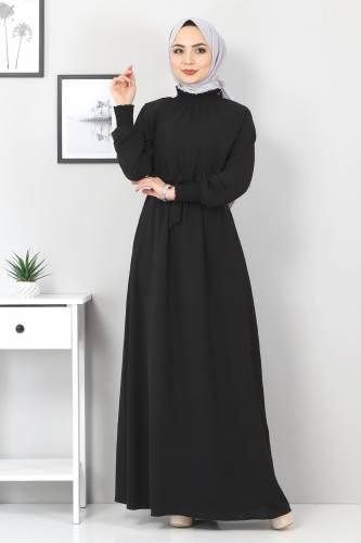 Yakası Lastikli Elbise TSD2894 Siyah - Thumbnail