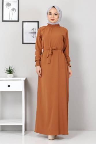 Tesettür Dünyası - Yakası Lastikli Elbise TSD2894 Taba