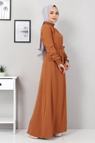 Tesettür Dünyası - Yakası Lastikli Elbise TSD2894 Taba (1)
