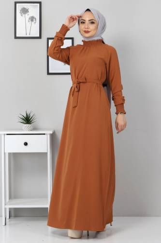 Yakası Lastikli Elbise TSD2894 Taba - Thumbnail