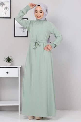 Yakası Lastikli Elbise TSD2894 Yeşil - Thumbnail