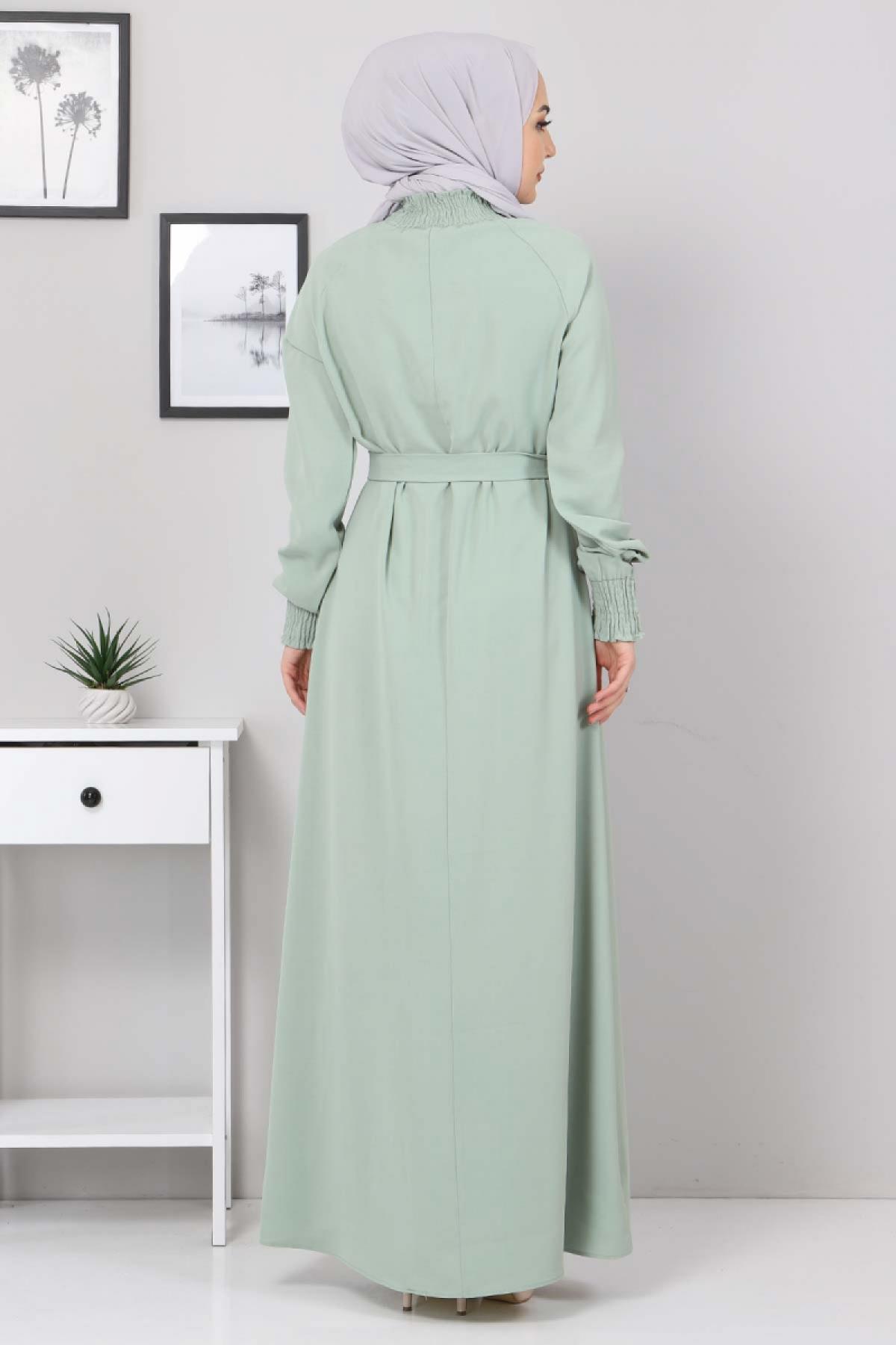 Yakası Lastikli Elbise TSD2894 Yeşil