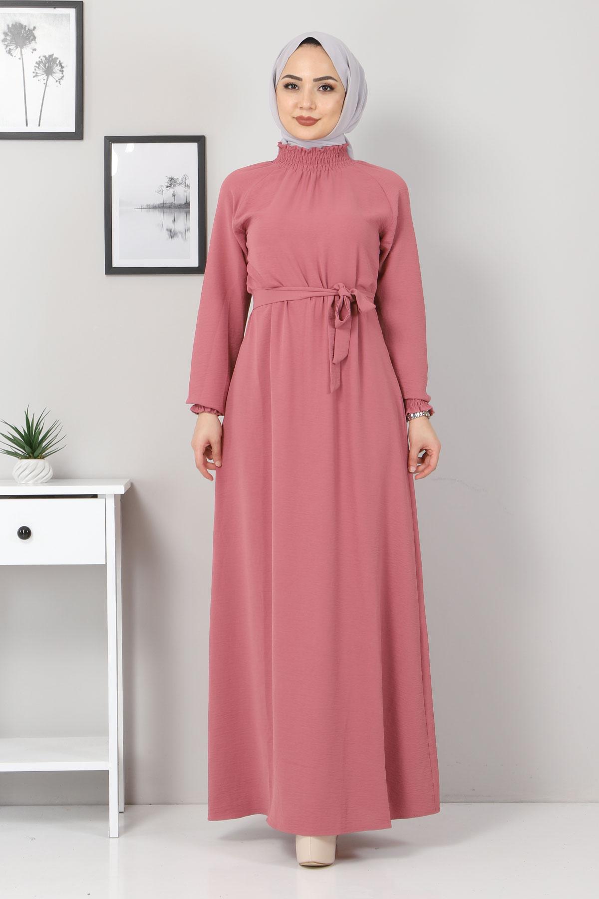 Yakası Lastikli Elbise TSD2894 Gül Kurusu