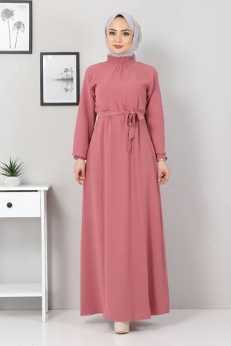 Tesettür Dünyası - Yakası Lastikli Elbise TSD2894 Gül Kurusu