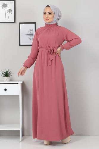 Tesettür Dünyası - Yakası Lastikli Elbise TSD2894 Gül Kurusu (1)