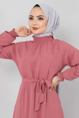Yakası Lastikli Elbise TSD2894 Gül Kurusu - Thumbnail