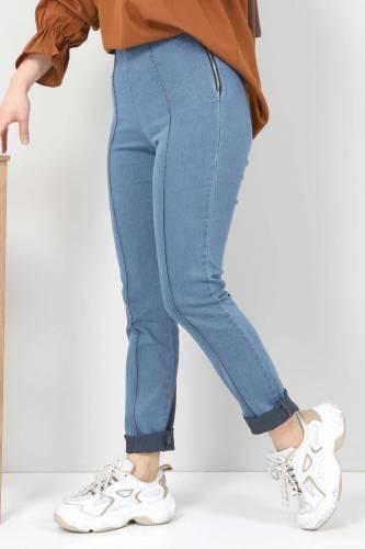 Tesettür Dünyası - Yandan Fermuarlı Kot Tayt Pantolon TSD22033 Açık Mavi