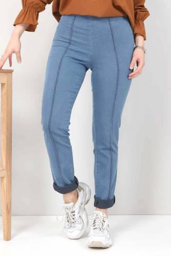 Tesettür Dünyası - Yandan Fermuarlı Kot Tayt Pantolon TSD22033 Açık Mavi (1)